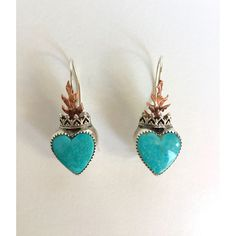 Wanda Lobito Turquoise Sacred Heart Earrings (Turq/Sterling) Jewelry Earrings at Cry Baby Ranch