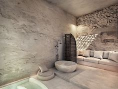Greece Design, Derelict Buildings, Hotel Architecture, Santorini Island, One Bedroom Apartment, Villa Design, Lounge Areas, Atrium, Design Awards