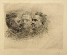 artbma-pdp:  When Rodin wasn't giving the worldscrumptious sculptures, he made time to show off his skills in printmaking. Here we see three views of the French dramatist Henri Becque. Auguste Rodin (French, 1840‑1917)Henri Becque, 1883‑1887DrypointThe Baltimore Museum of Art: Gift of Mr. and Mrs. Joseph DeVries Beckley, Baltimore,BMA 1986.102