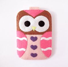 Brown Pink Owl Fantasy Hearts iPhone Camera by craftingwithlove, $24.00