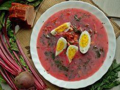 Botwinka na boczku wędzonym z jajkiem | KuchniaMniam Nasu, Thai Red Curry, Ethnic Recipes, Soups, Food, Essen, Soup, Meals, Yemek
