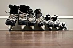 Take a pic of everyone's skate while the kids are still little to hang in the hockey room Hockey Room, Hockey Baby, Hockey Teams, Hockey Players, Hockey Decor, Hockey Crafts, Pens Hockey, Youth Hockey, Hockey Stuff