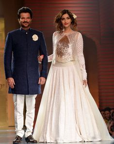 Anil Kapoor wore a navy blue achkan as he poses with his princess daughter Sonam Kapoor at Shabana Azmi's fashion show 'Mijwan'. #Bollywood #Fashion #Style #Beauty