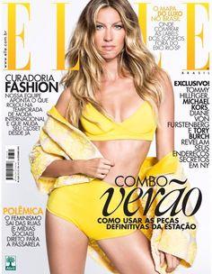 Gisele Bundchen Rocks Yellow Swimsuit on Elle Brazil November 2014 Cover