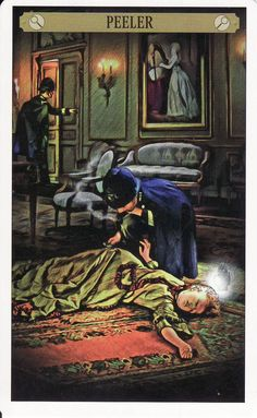 The Peeler of Analysis (Knight of Cups), from the Sherlock Holmes Tarot. http://lifeofhimm.wordpress.com/2014/09/19/the-sherlock-holmes-tarot-a-case-of-mutual-attraction/