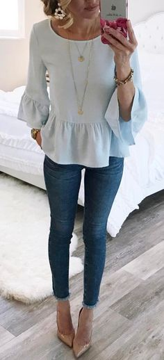#summer #outfits Blue Ruffle Top + Skinny Jeans