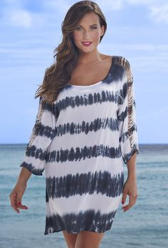 swimsuitsforall Tie-Dye Lattice Sleeve Dress