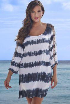 swimsuitsforall Tie-Dye Lattice Sleeve Dress