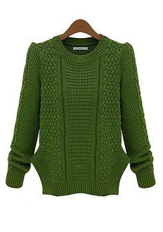 Green Plain Round Neck Long Sleeve Knit Sweater #CiChic