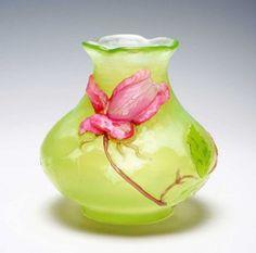 A vase rose de France  Medium: uranium glass, cased glass, marqueterie, application, wheel-engraving, quatrefoil rim.