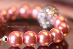 Bracelet Pink Glass Pearls Large Focal by PickleStiksandCo on Etsy, $25.00