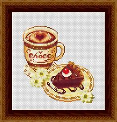 Cake and Coffee Counted Cross Stitch Pattern por InstantCrossStitch