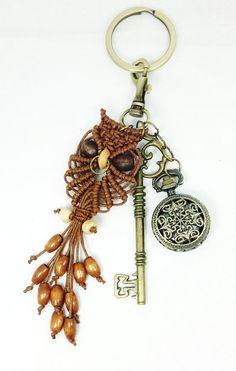 Macrame Eule Keyring  Macrame Baumwollkordel  Owl von Myowlmacrame, $15.00