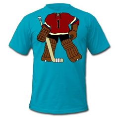 A little vintage style ice hockey goalie, from the days before goalies wore masks! Set at the top of the t-shirts neckline, so your head becomes the goalies head! T-Shirts.