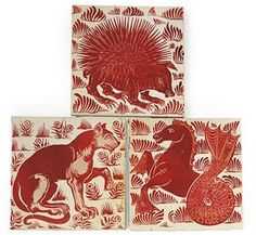 Three ceramic tiles, 1872-1881 by William De Morgan. Each ruby lustre decorated with a hedgehog, a feline and a seahorse respectively before stylised foliate backgrounds, on Craven Dunnill & Co. blanks each 6 1/8in. Sold at Christie's '09.