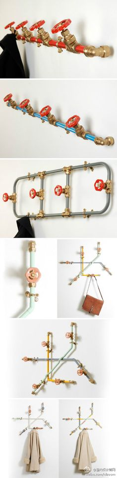 Ideas Clothes Hanger Hallway For 2019 Pipe Furniture, Industrial Furniture, Cool Diy Projects, Projects To Try, Steampunk Furniture, Diy Rangement, Clothes Hanger, Hangers, Coat Hanger