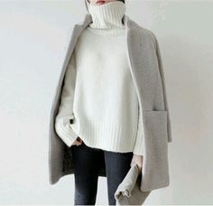 winter white sweater, cool gray jacket