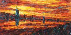 "Saatchi Art Artist Oleksandra Ievseieva; Painting, ""Mills. Oil painting"" #art #sun, #sunset, #trees, #clouds, #ievseieva, #landscape, #nature, #orange #painting #oilpainting #insparation #beauty #paint #sketch #artforsale #abstract #artist #creative #contemporaryart #mill"