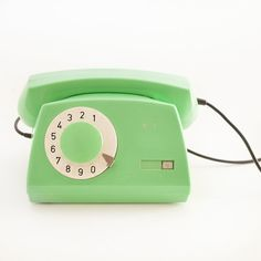 Mint pastel green rotary old school phone from 80's, rare color, rare retro…