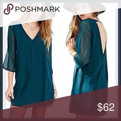 NWT Open Back Tunic Dress ➖NWT ➖SIZE: Medium, Large ➖STYLE:  A beautiful deep turquoise color lined tunic shirt dress with a V neck, open back and slight bell sleeves.    ❌NO TRADE   325401.  # not.  Bodycon body conscious bandage shirtdress Entropy Dresses