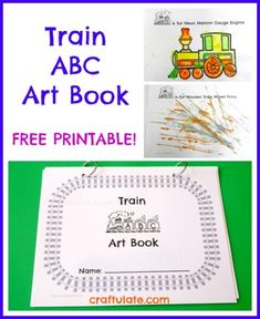 Train ABC Art Book - free printable from craftulate.com