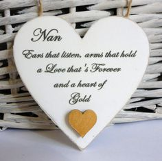 Nan / Friend HEART OF GOLD Sign Friendship Plaque Gift Shabby Chic Heart Plaque | eBay