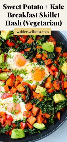 This sweet potato and kale breakfast hash is so satisfying and healthy! It is packed full of nutritious veggies, protein, fibre and fresh herbs. Best of all, it's ready in just 30 minutes.