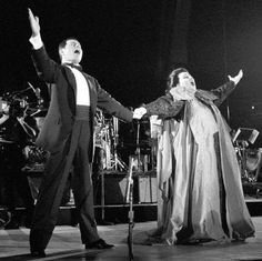 Freddie Mercury and Monserrat Caballe perform their hit song Barcelona during an outdoor concert in 1988