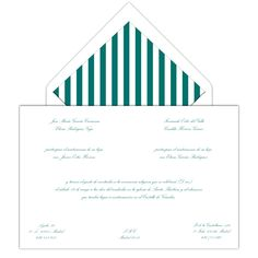 Invitación de boda con sobre forrado en rayas verde agua! www.silviagali.com