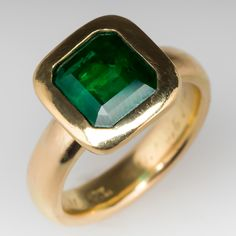 Mens+3.7+Carat+Emerald+Ring+on+Antique+18K+Tiffany+&+Co+Band