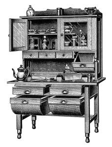 Vintage Kitchen Clipart Old Catalogue Page Antique Kitchen Cabinet Image Black And White Clip Art Old Fashioned Cupboard Ilration