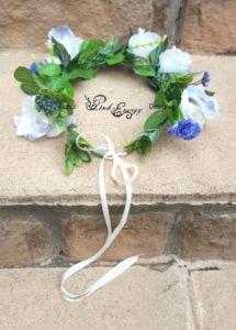 Blue and white silk flower crown White Silk, Blue And White, Wrist Corsage, Flower Crowns, Silk Flowers, Floral Design, Wreaths, Pink, Handmade