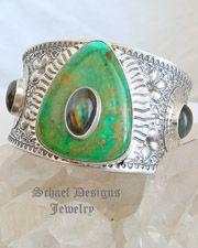 David Troutman Kingman Turquoise Spectrolite & Sterling Silver Cuff Bracelet | Schaef Designs | New Mexico