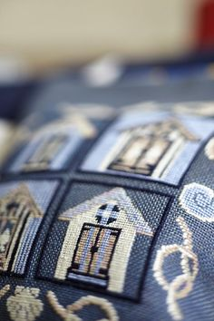 BEACH HOUSE- nautical cross stitch,navy,blue,nautical pillow,needlepoint,embroidery,coastal,burlap pillow,pattern,diy,stitch,Anette Eriksson on Etsy, €3,78
