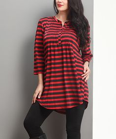 Loving this Red Stripe Notch Neck Pin Tuck Tunic - Plus on #zulily! #zulilyfinds