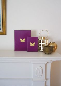 BUTTERFLY Purple & Gold Butterfly PAINTING by ThreeColumnsStudio