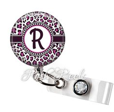 ♥ Badge Reel - This cute personalized badge reel is attached to a retractable Id badge holder. The reel measures 1 1/2 and cord stretches 34. Badge