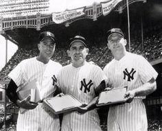 Yogi Berra, Mickey Mantle & Joe Dimaggio New York Yankees shared some quality time in Yankee Stadium New York Yankees Stadium, Ny Yankees, Yogi Isms, World Series Rings, The Mick, Joe Dimaggio, Yankee Stadium, Mickey Mantle, Great Team