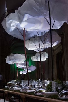 Hermès joined forces with coudamy architectures to create 'a strange, surreal, and fellini-esque atmosphere' inside the city's palazzo farnese. Renaissance Architecture, Renaissance Art, Paper Clouds, Paper Art Design, Sky Images, Church Stage Design, Exhibition Display, Exhibition Ideas, Cloud Art