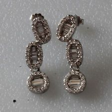 Sterling silver and CZ dangling earrings with push backs Lot 389