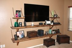 Another interpretation of mounted TV with DIY shelves