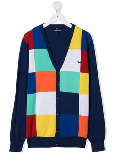 Multicolour cotton TEEN checker-pattern cardigan from HARMONT & BLAINE JUNIOR featuring checkerboard print, drop shoulder, long sleeves, ribbed detailing and front button fastening. Checker Pattern, Cardigan, Dress Codes, Front Button, I Dress, Designers, Teen, My Style, Long Sleeve