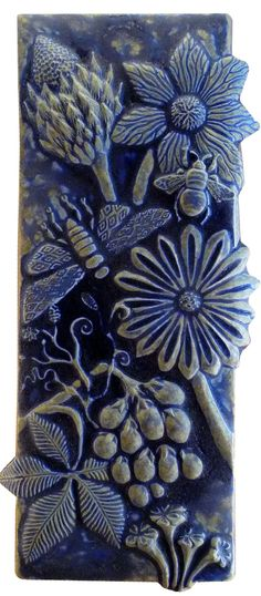 Botanical & Bugs Ceramic Tile in Night Sky Blue sculpted by Beth Sherman of www.HoneybeeCeramics.com