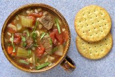 Slow Cooker Beef and Barley Soup - COMFORT SOUP! www.GetCrocked.com