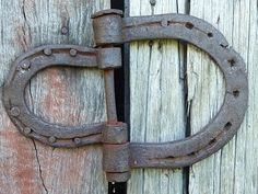 Old stable door hinge.  These would be adorable to make with all the horse shoes I have lying around from my favorite horses.  Cute as hinges for the farm or a tack trunk or something.  A great way to remember the horses who are no longer with you and to keep them a part of the barn.