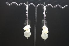 1pairje-0402 sterling silver earrings with natural by 3yes on Etsy