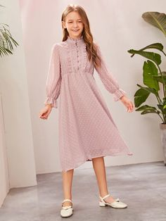 To find out about the Girls Swiss Dot Frill Trim Buttoned Dress at SHEIN, part of our latest Girls Dresses ready to shop online today! Girls Casual Dresses, Girly Outfits, Little Girl Dresses, Dresses For Teens, Modest Dresses, Stylish Dresses, Dress Outfits, Girls Fashion Clothes, Girl Fashion