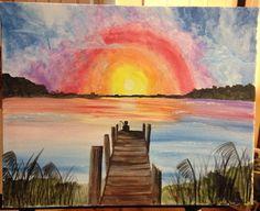 Lake fishing. Acrylic painting