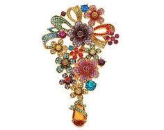 +joan rivers pear pin | Joan Rivers Crystal Cascade Flower Brooch