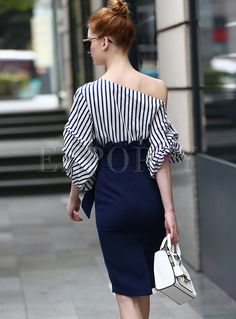 Shop Chic One Shoulder Waist Asymmetric Patch Bodycon Dress at EZPOPSY. Classy Work Outfits, Pretty Outfits, Jean Dress Outfits, Look Fashion, Girl Fashion, Derby Attire, Party Dresses For Women, Fall Dresses, Long Dresses